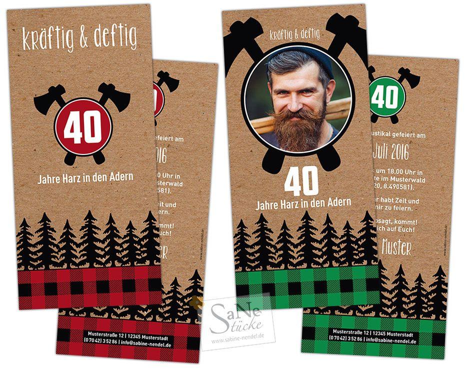 Einladungskarte Zum Geburtstag Für Alle Holzfäller (Lumberjack) Und  Menschen Mit Harz In Den Adern