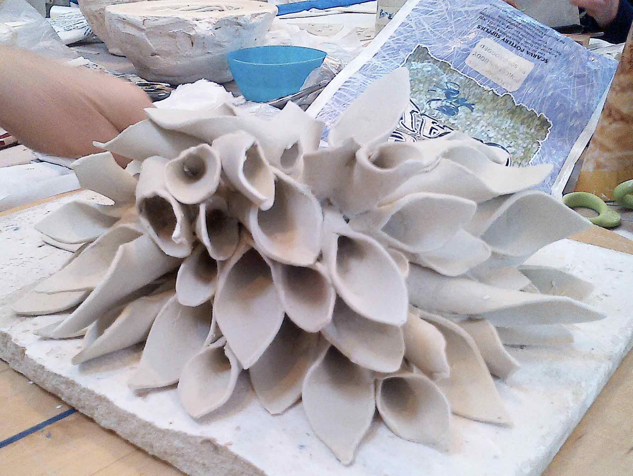 Porcelain sculpture in process by Emily O'Brien - Dublin based ceramic course. www.ceramicforms.com