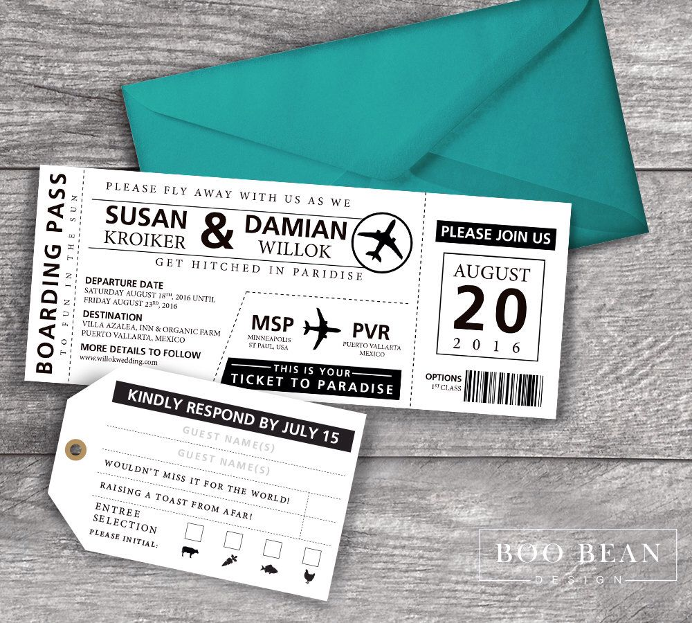 Destination Boarding Pass Invitation | Printable Invitation ...