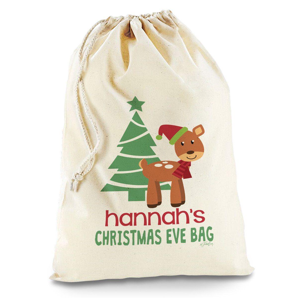 Personalised Christmas Eve Reindeer Tree Natural Christmas Present ...