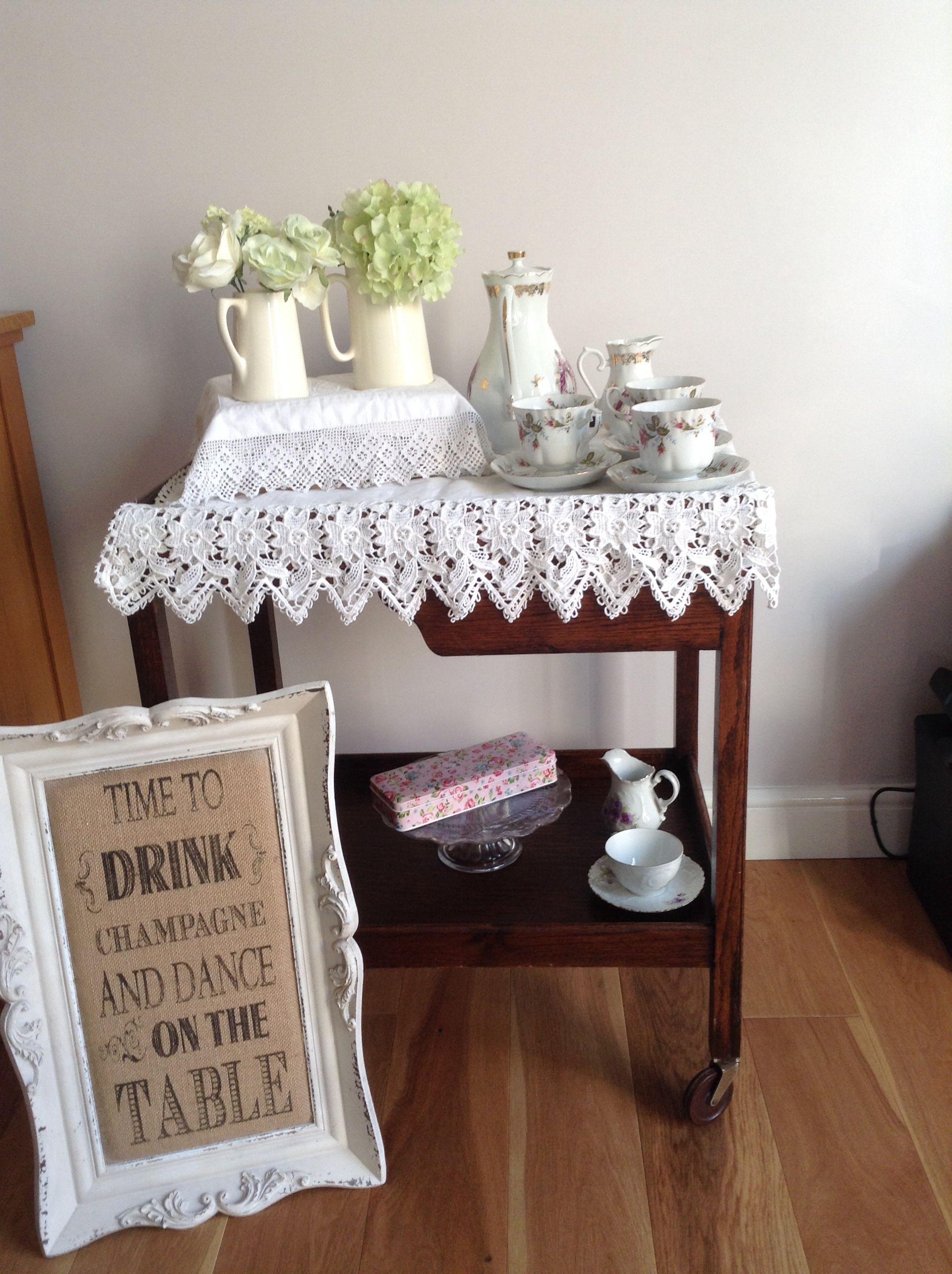 Vintage styling tea trolley wooden lace desserts table weddings tea party hire cambridgeshire sign champagne drinks table sweetie bar hire decoration tea