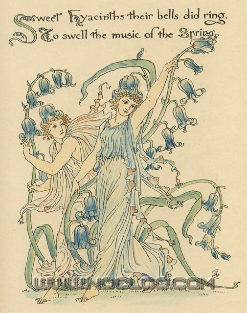 Flora's Feast (1889) p. 15 by Walter Crane  (A Fairy's Festival of Flowers)