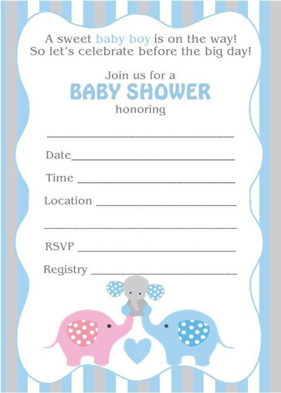 Baby Shower Invitation Boy Elephant Blank In 2019 Invitaciones