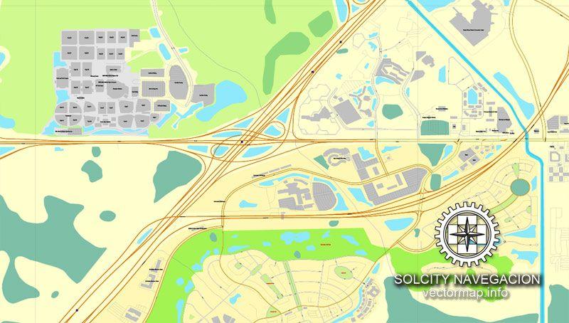 Vector Map Walt Disney World Printable Map, Florida, US Printable Vector  Street City Plan
