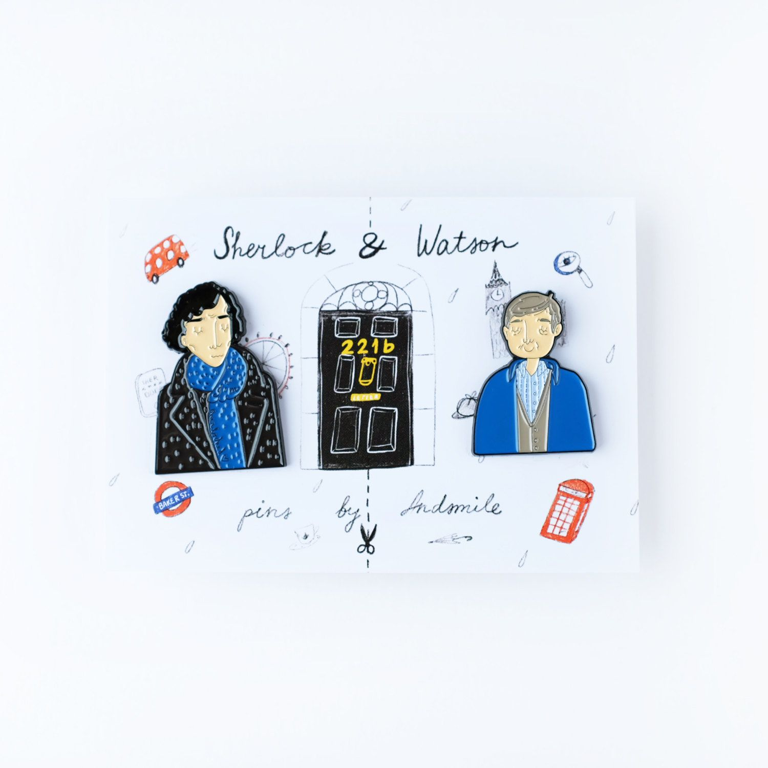 Sherlock & Watson are made from high quality black metal and based on my original fan drawings, have a lapel pin back / butterfly metal clasp. Sherlock is 3.7cm tall and 2.6cm wide, Watson is 3cm tall and 2.4cm wide.  They come on a cute A7 size backing card featuring London landmarks & Sherlock themed objects.  Keep both for yourself or cut the packaging in two and share Watson or Sherlock with a fan friend! Designed & made with love, will be shipped with care.