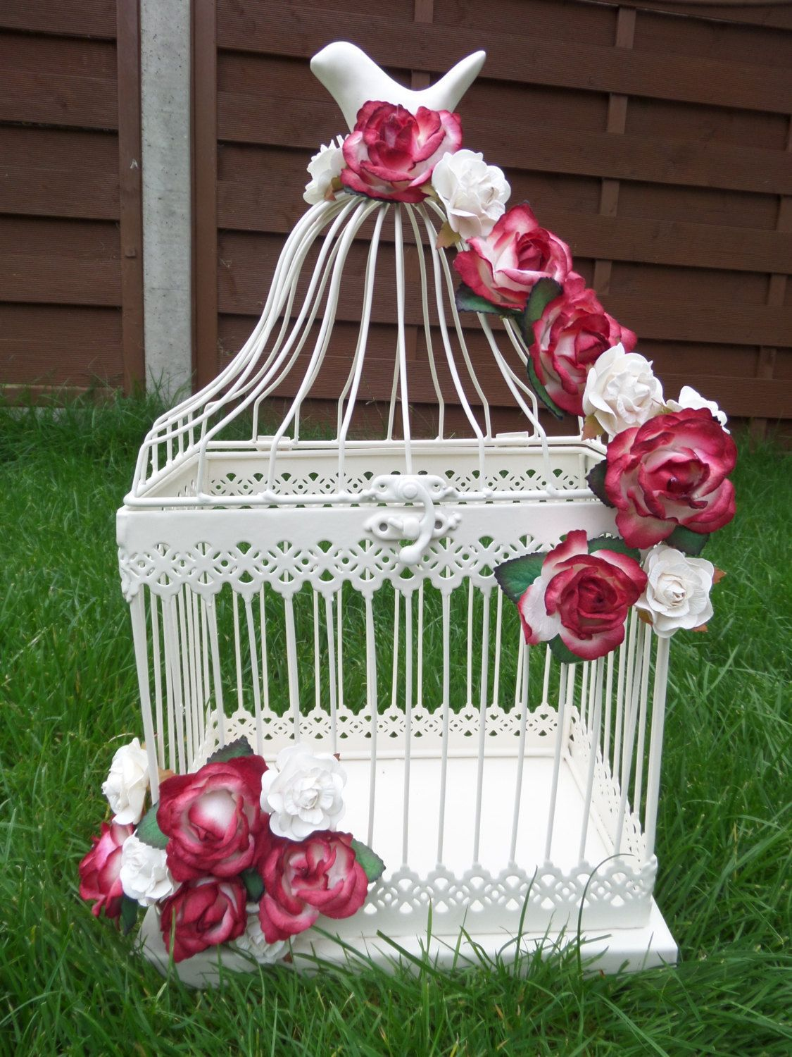 Wedding Reception Card Holder - Ivory Birdcage - Red and White Paper ...