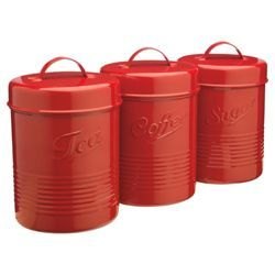 Check Out Tesco Enamel Tea Coffee And Sugar Canister Set