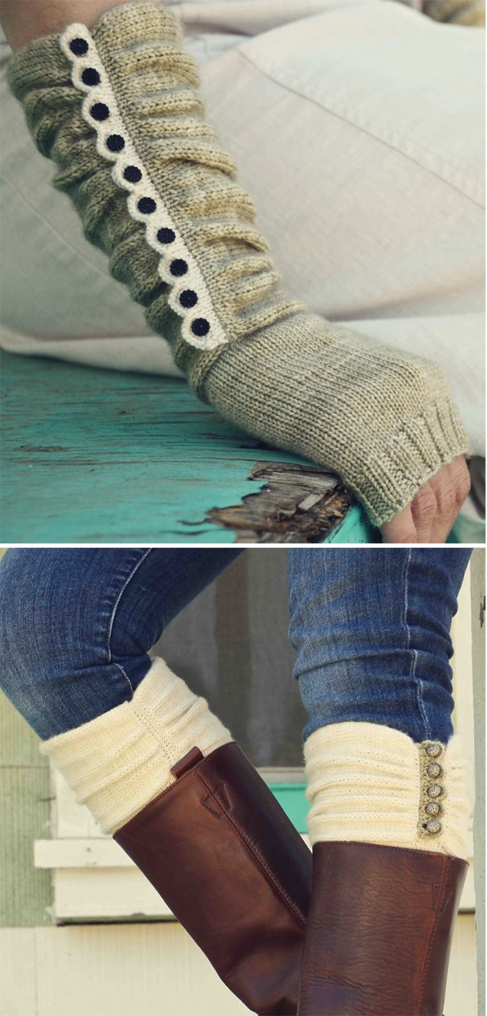 Knitting Pattern for Austin Boot Liners & Mitts - Fingerless mitts ...