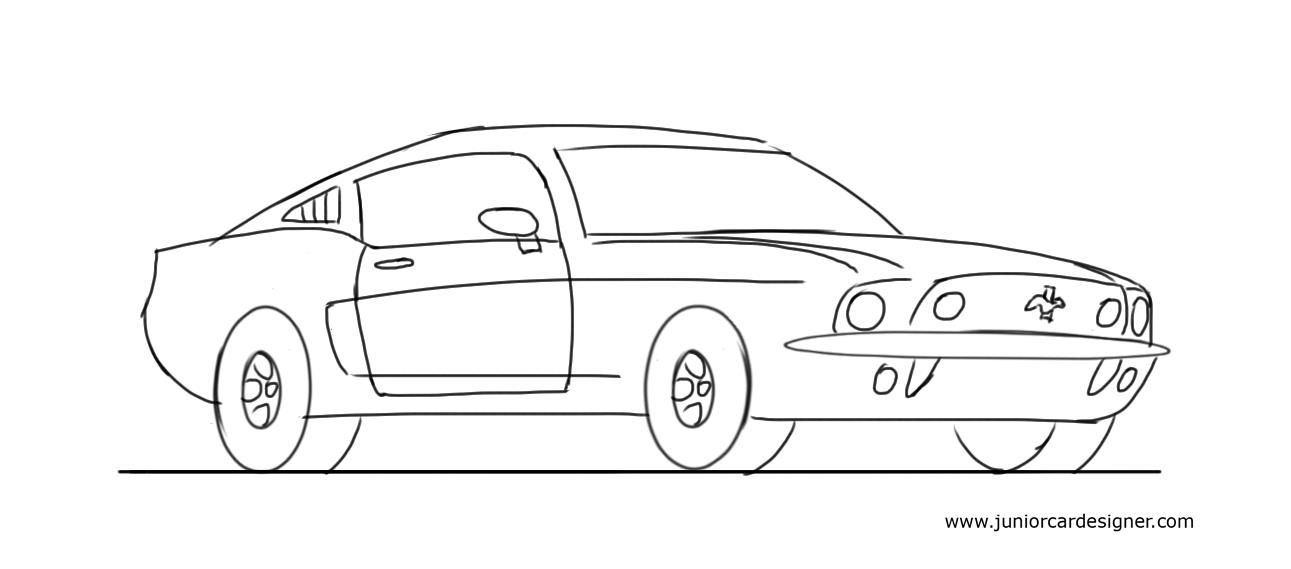learn how to draw a muscle car ford mustang - Cars Drawings Step By Step