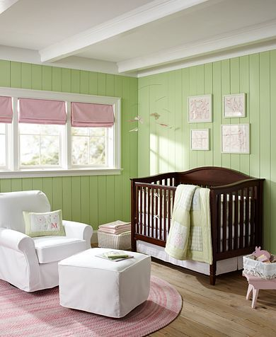 Bright Green Walls With Espresso Or Cherry Crib
