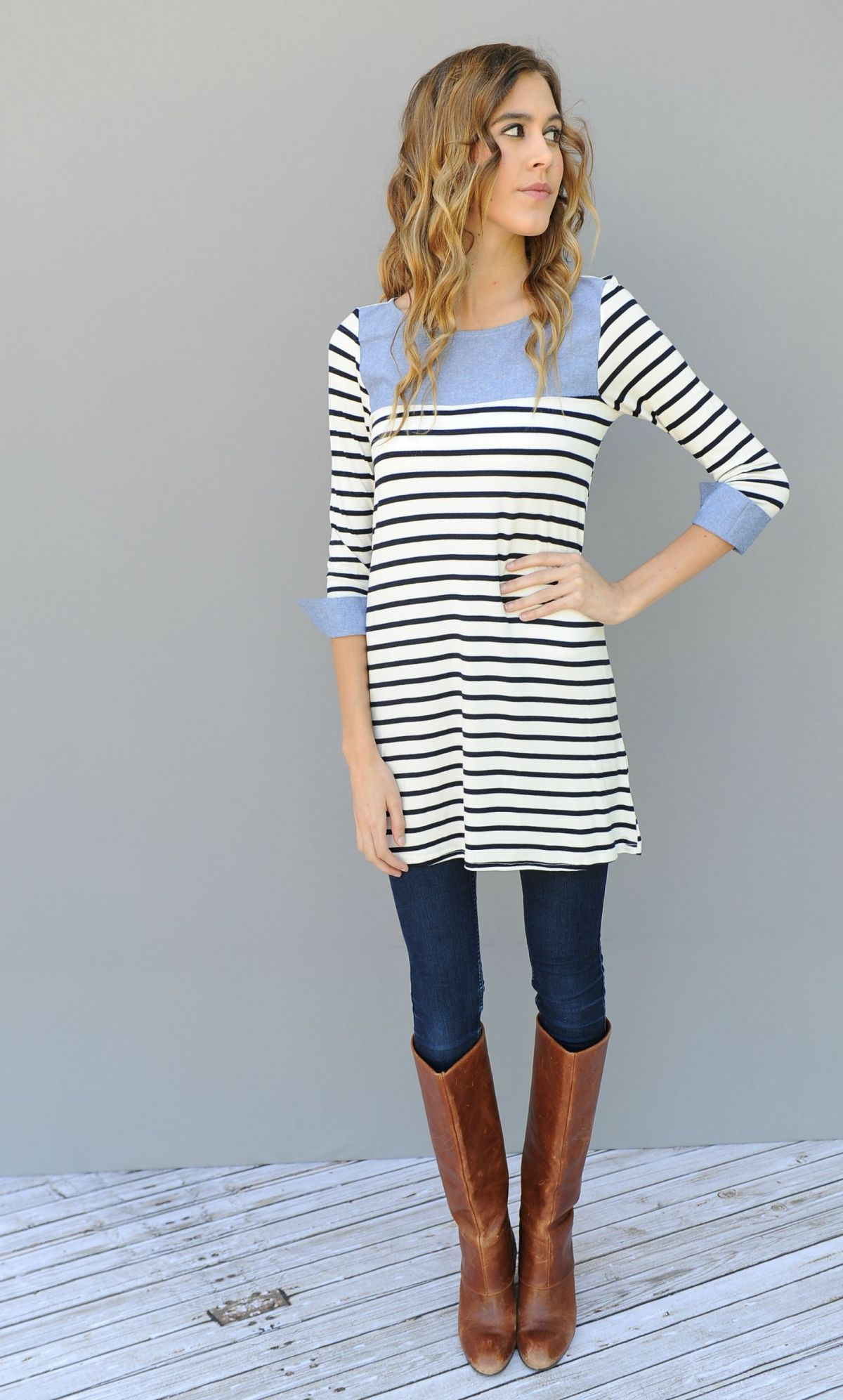 Such a fun 3/4 sleeve top Great Detailed bib and cuff top.  Wear a cute cardigan over as well for more stylish look.