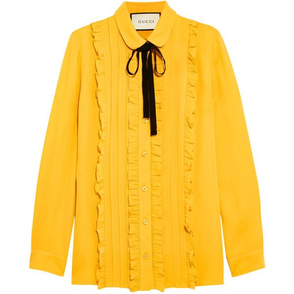 47a7533b513b Gucci Ruffled silk shirt ($895) ❤ liked on Polyvore featuring tops, blouses,  shirts, gucci, yellow, mustard blouse, silk shirt, yellow blouse, shirt  blouse ...