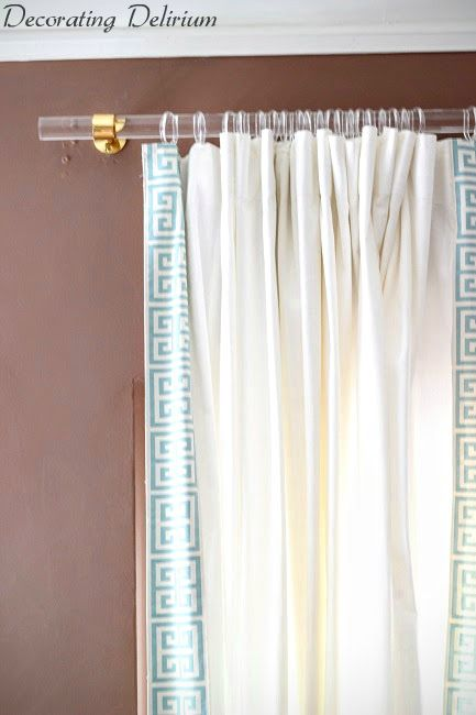 diy lucite curtain rod and greek key trim curtains i like the rod lucite with gold