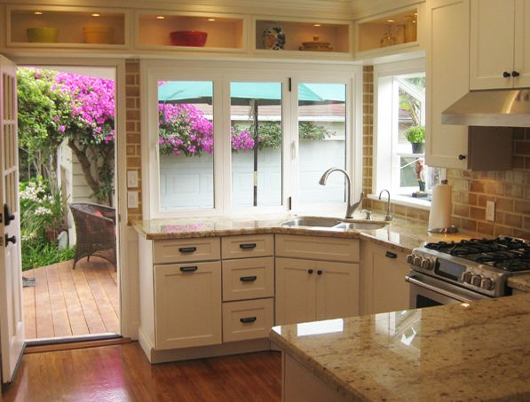 Large kitchen window and dayton kitchen cabinets tiny for Small upper kitchen cabinets