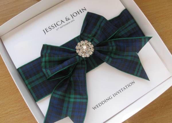 Luxury Scottish Tartan Wedding Invitation with Diamante Boxed