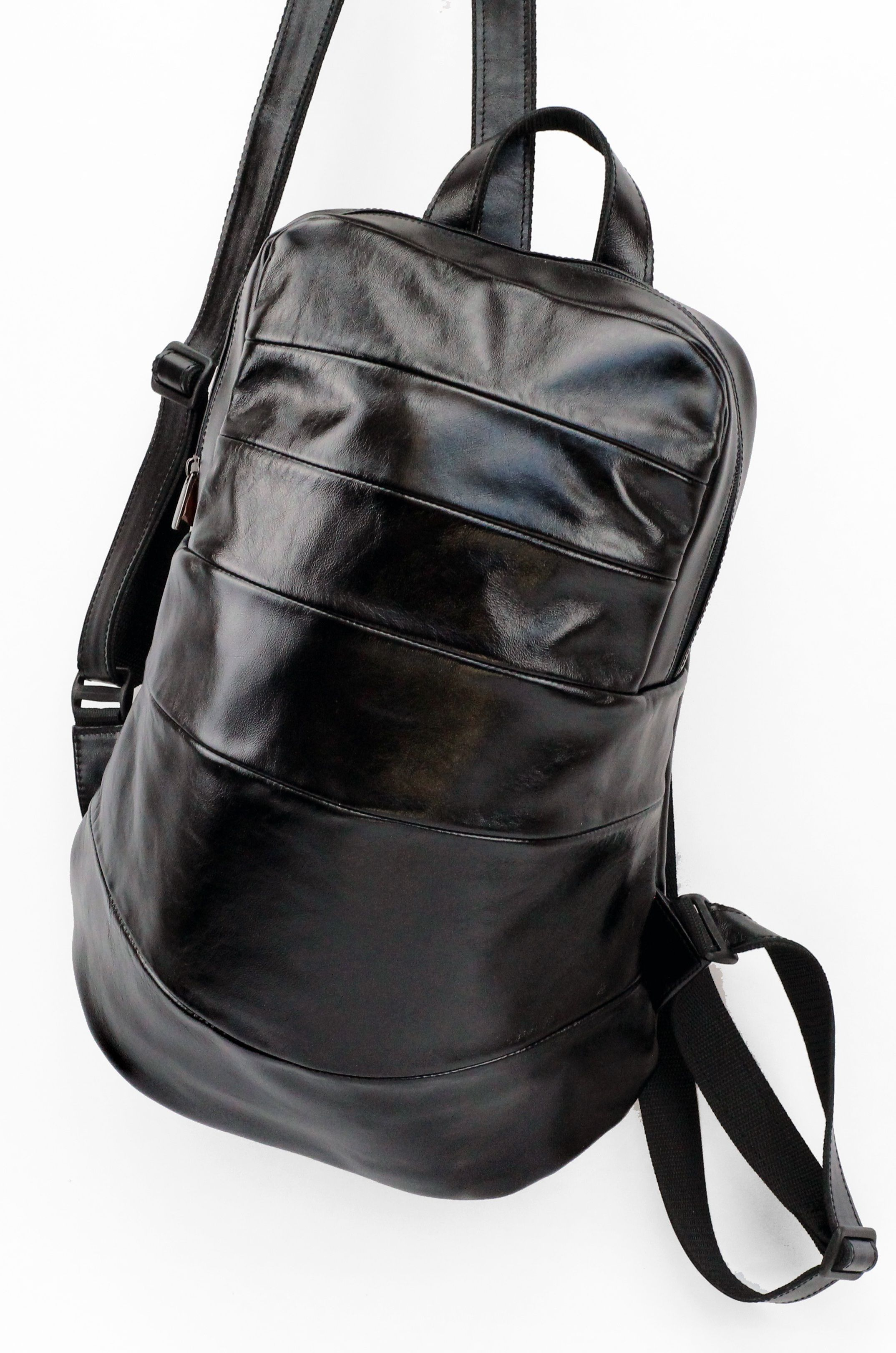 3c0115ea0338 Total Black Concept Leather Backpack by Leonid Titow