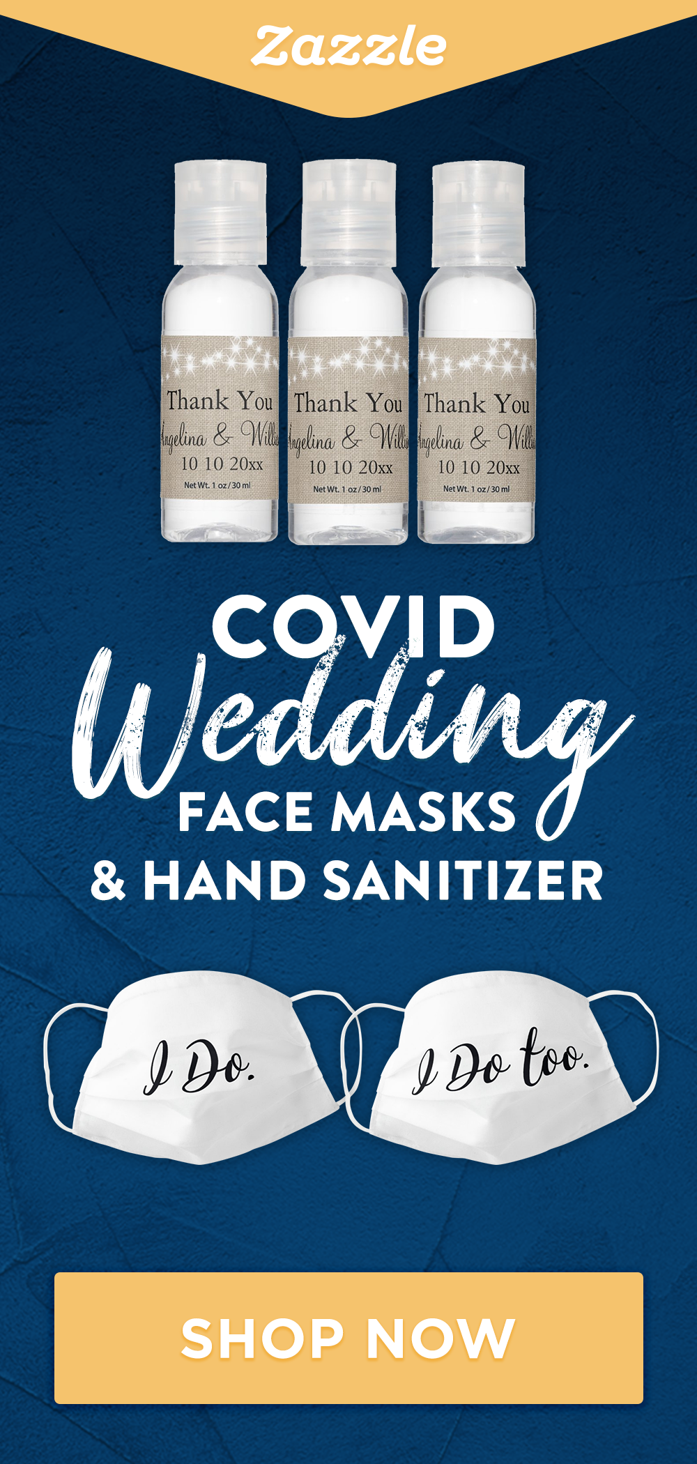 Shop Zazzle for all things wedding. Whether you're planning a large gathering or a small backyard wedding, browse thousands of invitations and products for a beautiful and safe wedding. Explore our selection of save the dates, face masks, hand sanitizer, bridesmaids gifts, decor and more.