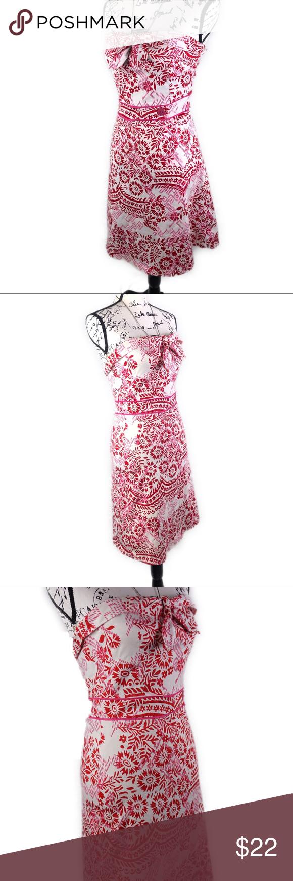 Strapless Red White Sweetheart Neckline Midi Dress White Sweetheart Dresses Mid Length Dresses [ 1740 x 580 Pixel ]