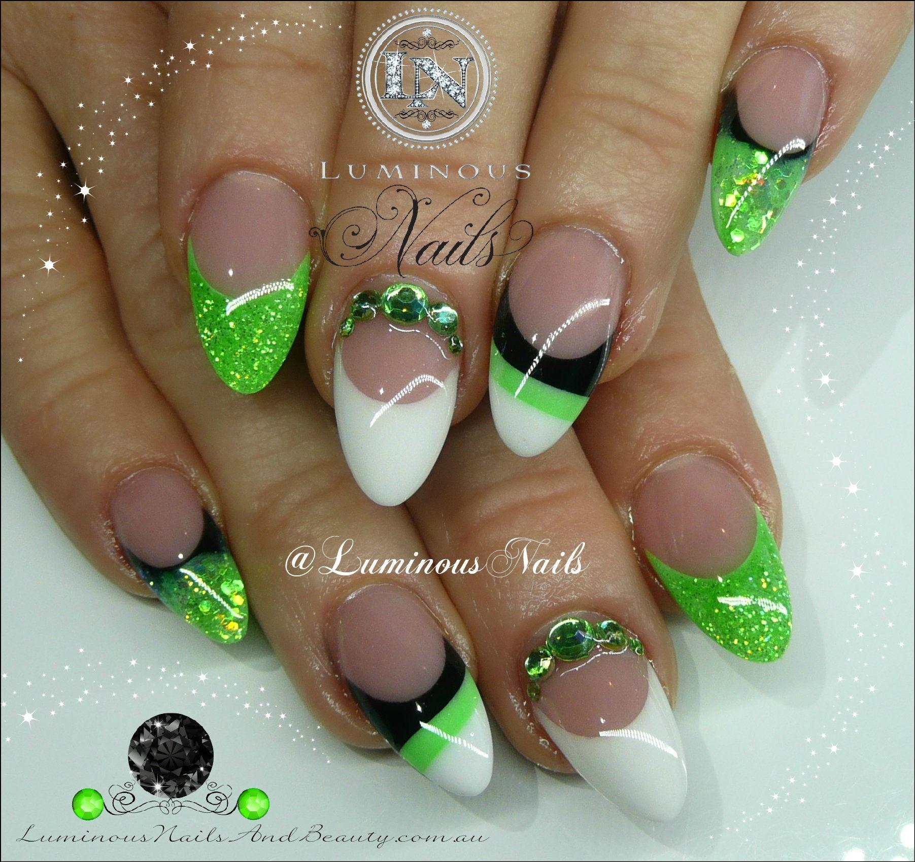 Lime Green, White & Black Nails...