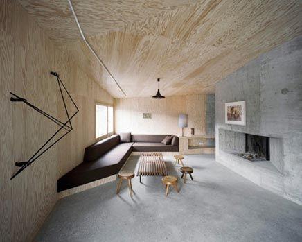 Woonkamer van hout & beton nieuw huis plafond pinterest