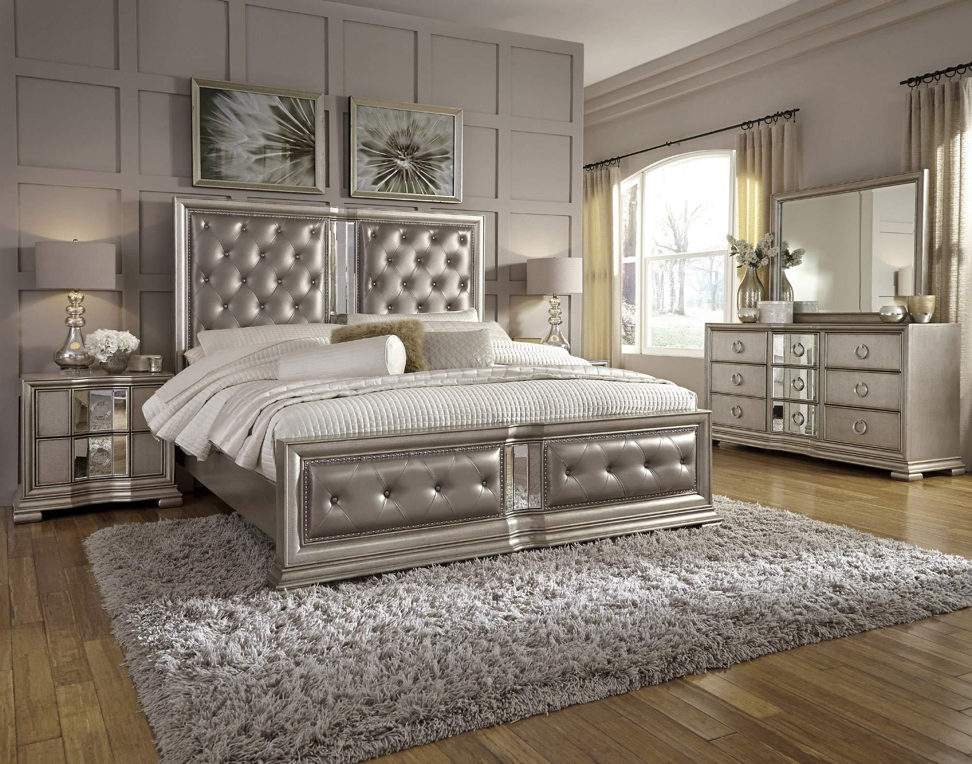 Couture Queen Button Tufted Upholstered Panel Bed In Silver