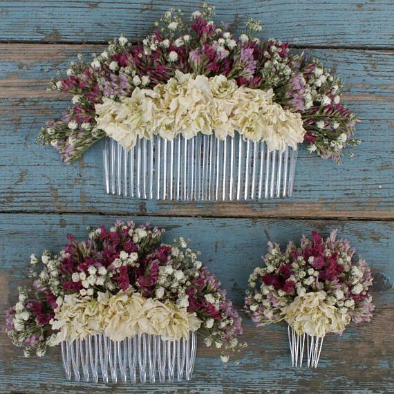 Nuestras peinetas de flores secas hechas a mano son una gran - flores secas