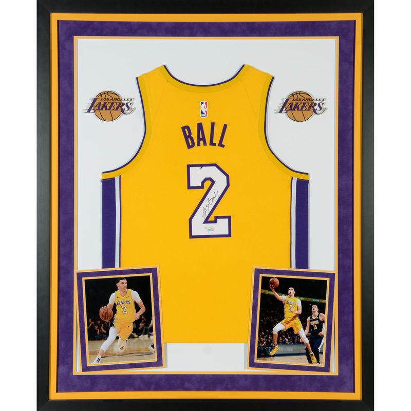0a8ccd77e Lonzo Ball Los Angeles Lakers Fanatics Authentic Deluxe Framed Autographed  Nike Gold Swingman Jersey