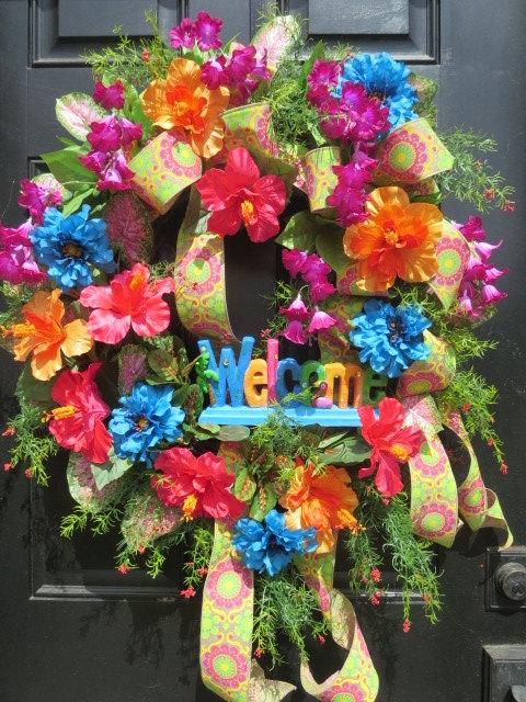 Genial Tropical Wreath Welcome Beach Summer Door