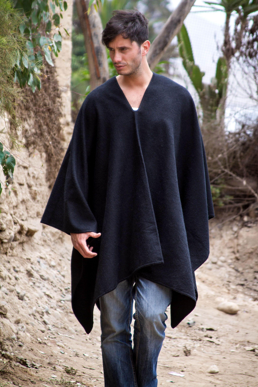Very Peruvian Poncho for Men in Warm Alpaca Blend, 'Inca Explorer in  SE76