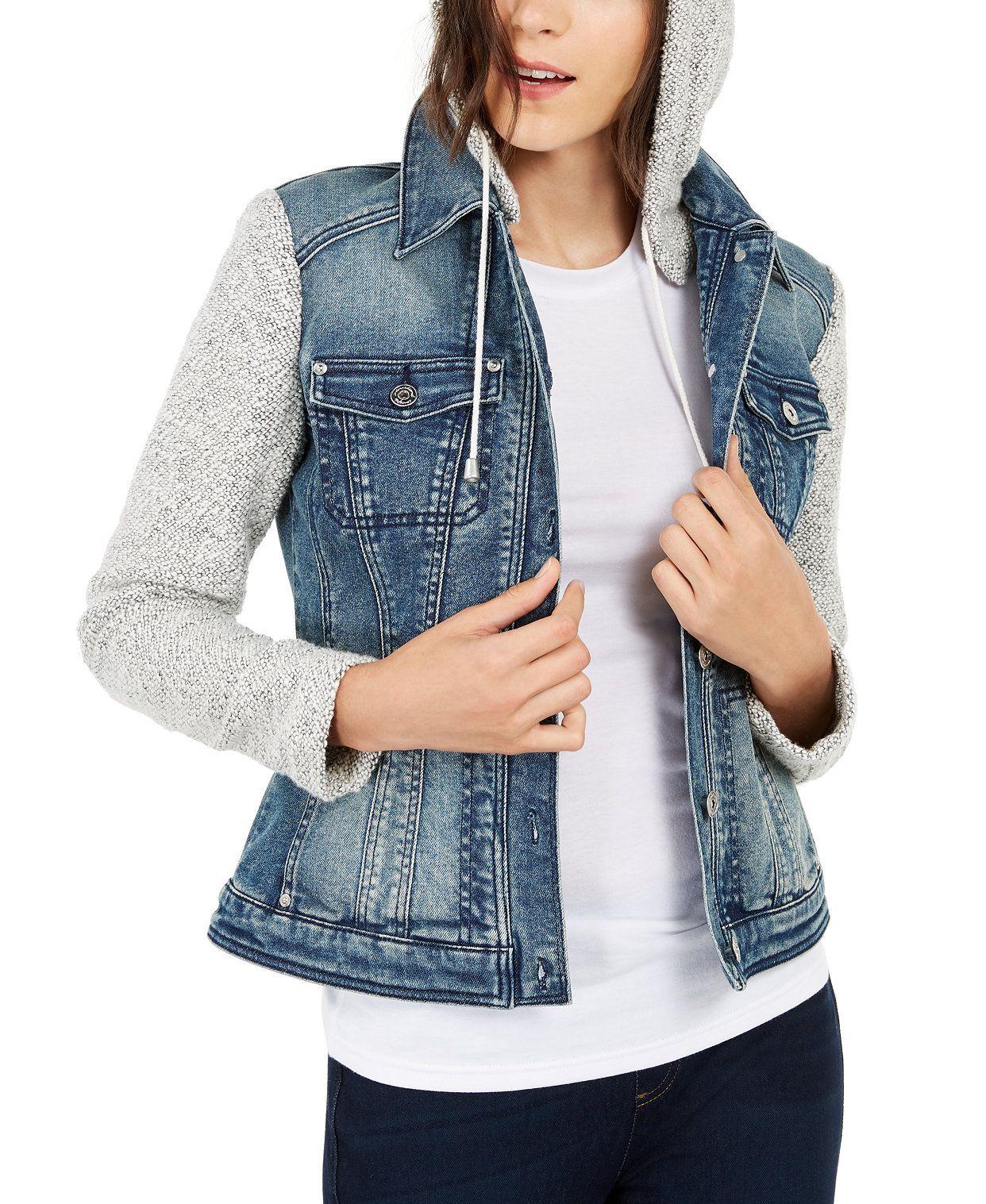 Inc Knit Denim Hoodie Jacket Created For Macy S Denim Jacket With Hoodie Denim Hoodie Blazer Jackets For Women [ 1517 x 1242 Pixel ]