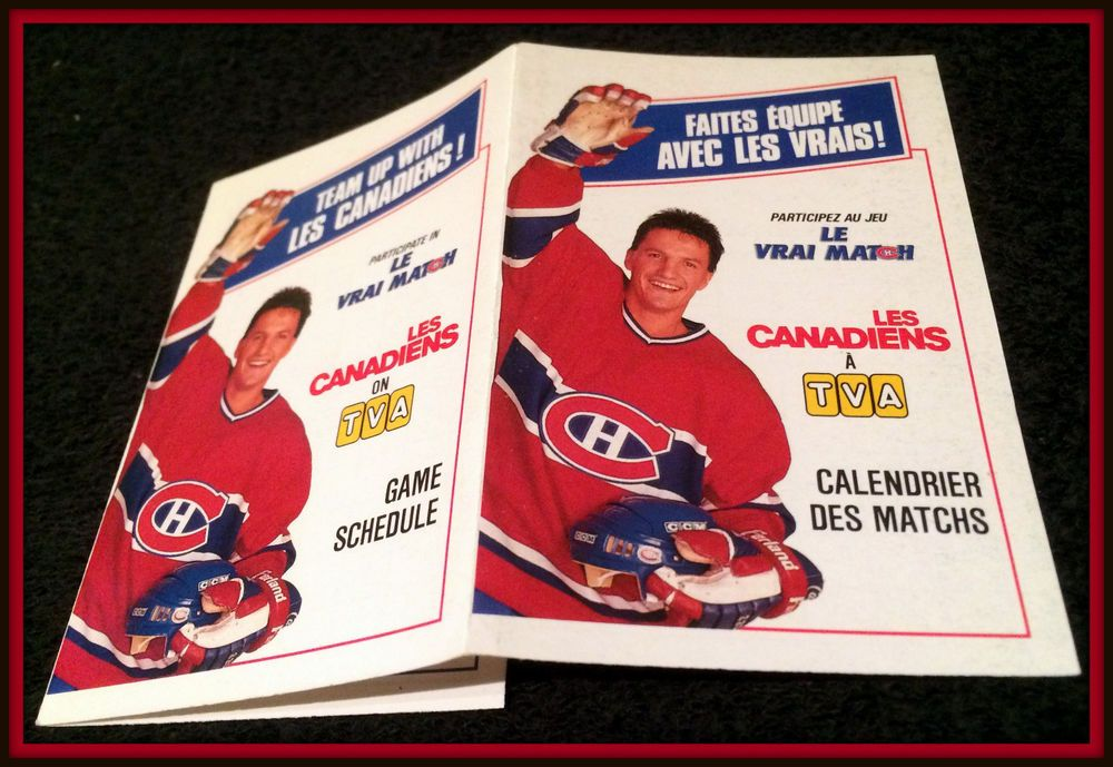1988-89 MONTREAL CANADIANS HOCKEY POCKET SCHEDULE EX+NM CONDITION FREE SHIP #Pocket #Schedule