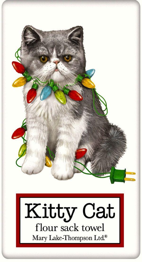 Grey and White Cat with Christmas Lights 100% Cotton Flour Sack Dish Towel Tea Towel