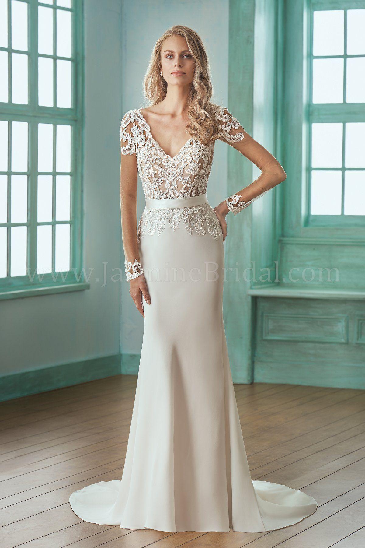 Jasmine Bridal Wedding Dresses Crepe Wedding Dress Wedding Dress Long Sleeve