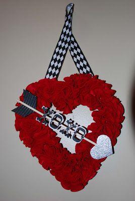 ruffle felt heart wreath