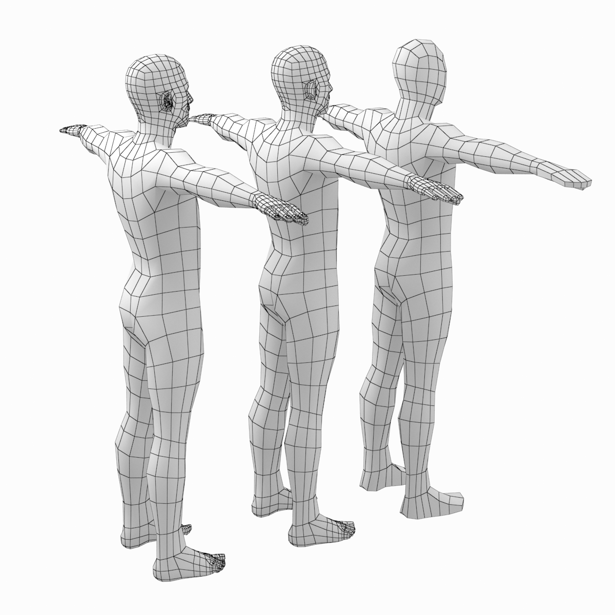 Male Low Poly Base Mesh In T Pose Poly Low Poly Poses