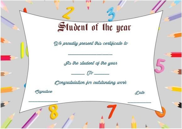 Student of the year award certificate template student of the year student of the year award certificate template yelopaper Gallery