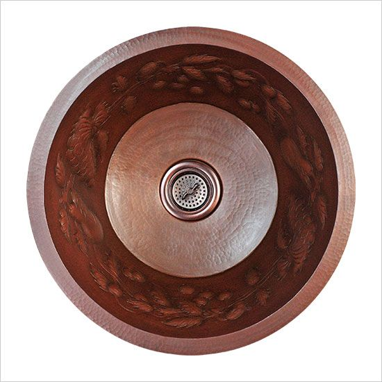 Linkasink Kitchen Sinks   Linkasink C032 Small Round Fruit Small Copper Bar  Sink   3.5 Drain