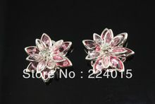 Doprava zadarmo! 20ks 24mm Ligth Rose Red postriebrená Flower drahokamu výzdoba Nálezy / konektor Fit Šperky DIY (Čína (pevninská časť))