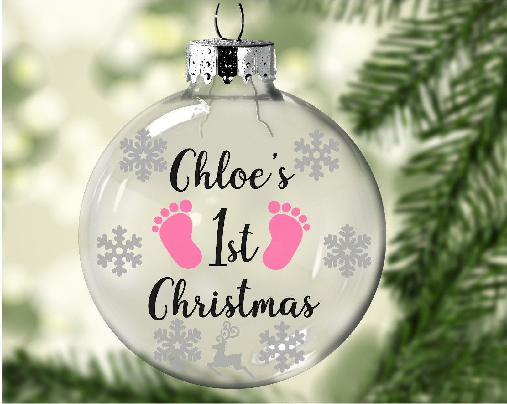 Floating Baby S 1st Christmas Personalized Ornament Etsy Baby S 1st Christmas Ornament Cricut Christmas Ideas First Christmas Ornament