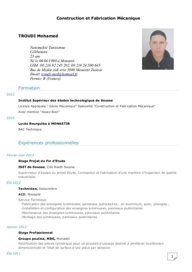 Modele Cv Technicien D Usinage Exemple Cv Modele Cv Sousse