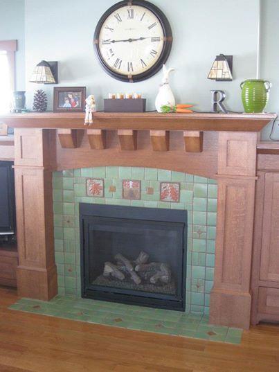 Fireplace Decorative Tiles Nice Simple Craftsman Fireplace Design With Decorative Tile  Arts