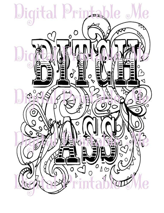 Swear Word Coloring Book Page Printable By DigitalPrintableMe
