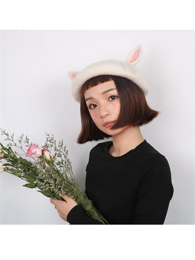 Wool Felt Cat Ears Beret Hat  43f1ee4a3c68