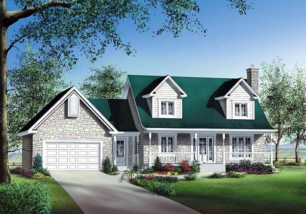 Cape Cod Style House Plan with 3 Bed 3 Bath 1 Car Garage