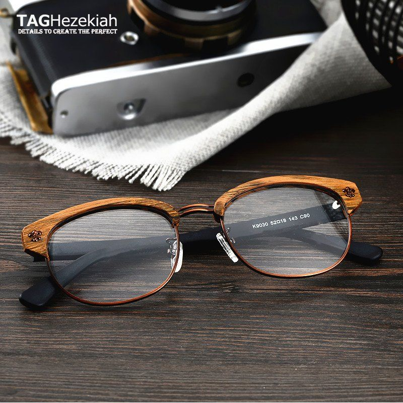 707eea1aa2 TAG+Hezekiah+Brand+Vintage+Wood+Retro+Rivet+Eyeglasses+Frame+Men+Women ++Wooden+Myopia+Prescrip