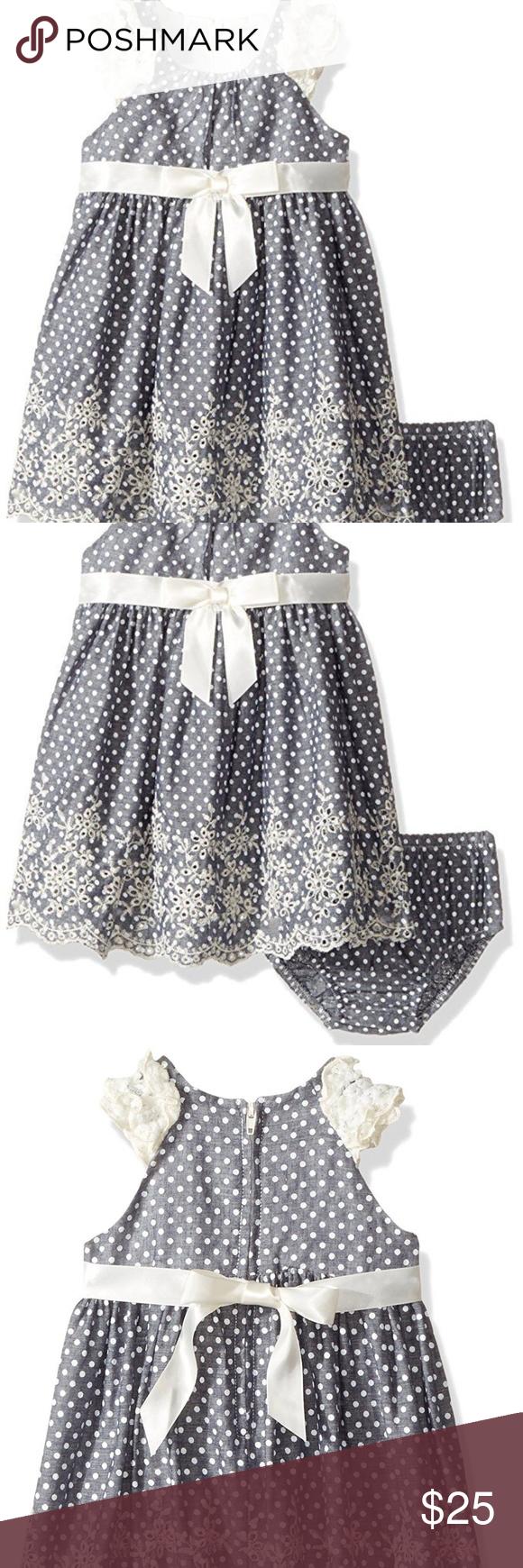 720e96ab2 I just added this listing on Poshmark: Bonnie Baby Chambray Dot Eyelet  Ruffle Dress Set. #shopmycloset #poshmark #fashion #shopping #style  #forsale #Bonnie ...
