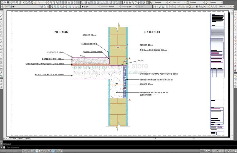 Reinforced Concrete Slab Beam Exterior Brick Wall Thermal