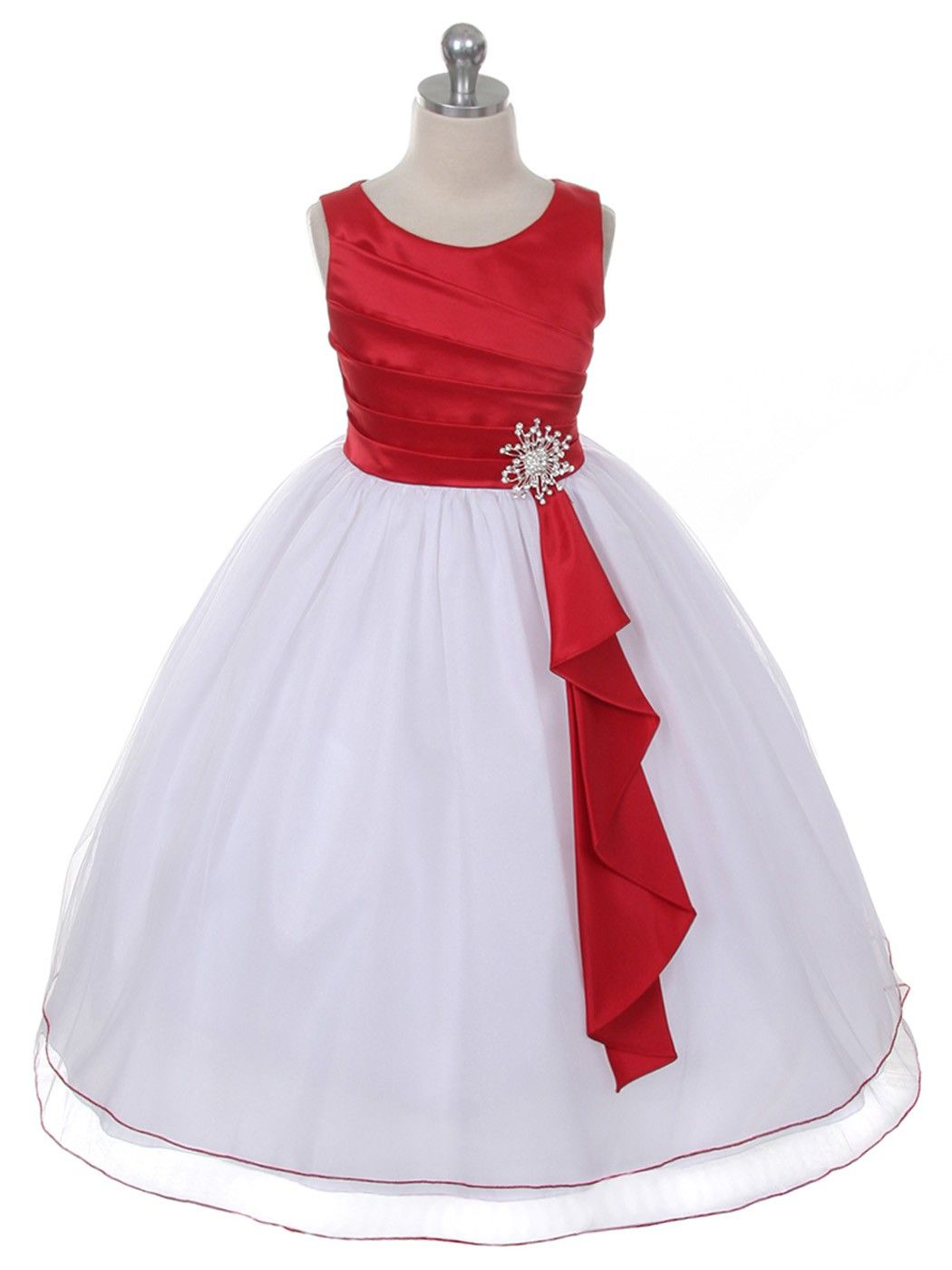 Red surplice double layer girl dress sizes in colors for