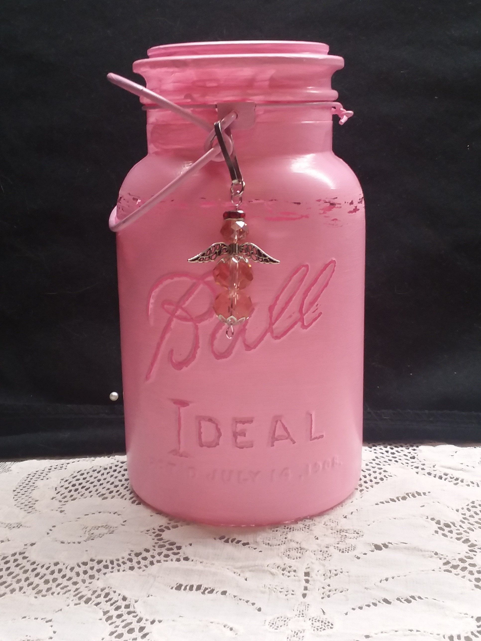 vintage hand painted pink mason jar centerpiece with handmade rh pinterest com