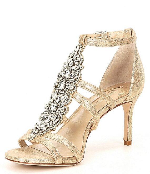 Laoise Tstrap Metallic Leather Jewel Embellished D